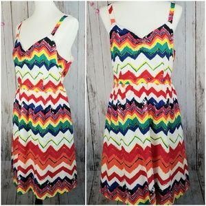 ModCloth Zigzag Stripe Cotton Sundress, EUC!